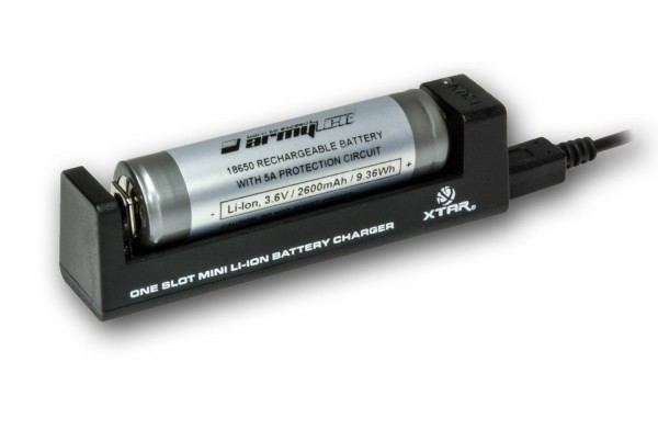 Akku-Ladegerät-Set mit Li-Ion-Akku 18650 2600 mAh 3,6 V + Ladegerät MC1-Plus